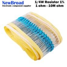 Металлический пленочный резистор 1/4 Вт, 100 шт., 1R ~ 22M 1% 100R 220R 1K 1,5 K 2,2 K 3,3 K 4,7 K 10K 22K 47K 100 220 330K 1K5 2K2 4K7 Ом сопротивление