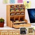 Многофункциональная 12 Сетка настольная деревянная ручка держатель для офиса школы коробка хранения Чехол коробка с выдвижным ящиком Насто...
