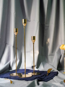Candle-Holders Wedding-Decoration Metal Gold Modern-Style Bar Stick Simple Moments Party