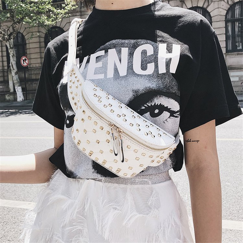 KAFVNIE Fashion Chain Fanny Pack Rivet Banana Waist Bag New Brand Belt Bag Women Waist Pack PU Leather Chest Bag Belly Bag 1538