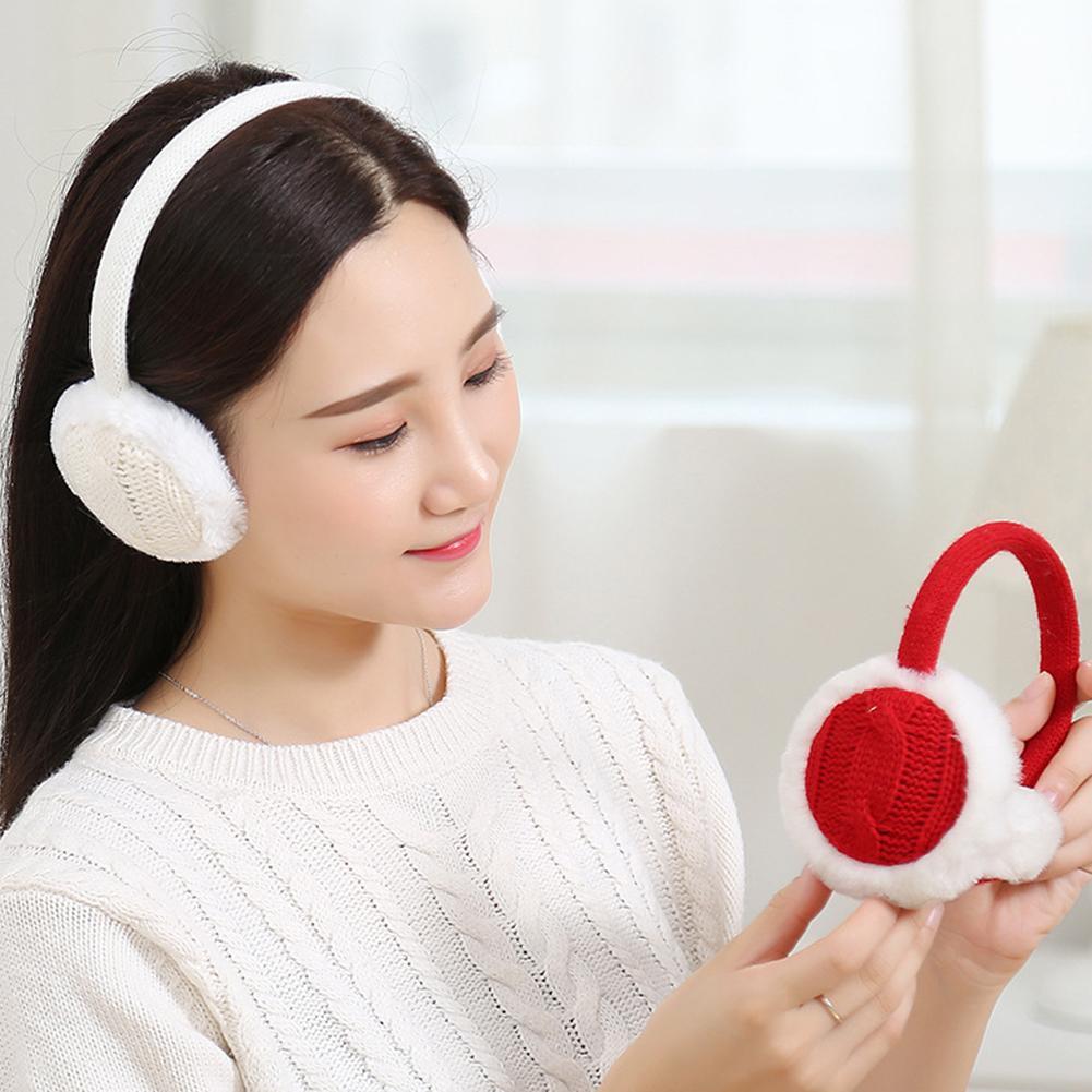 Fashion Earmuffs Women Winter Warm Plush Knitted Earmuff Ear Warmer Accessory Gift