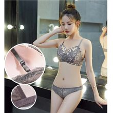 2pcs/Set Hot sale solid Low-rise sexy Perspective lace Women Underwear Sexy Lace Bra Panties Set Plus Size Wire free Bralette(China)