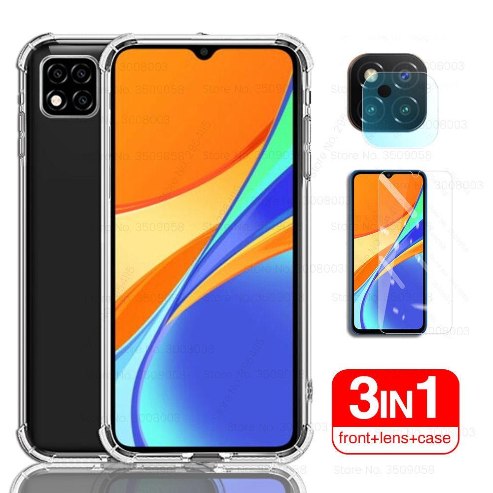 transparent airbag silicone shockproof cover case for xiaomi redmi 9c nfc case+front glass+camera protector on redmi 9 c c9 case