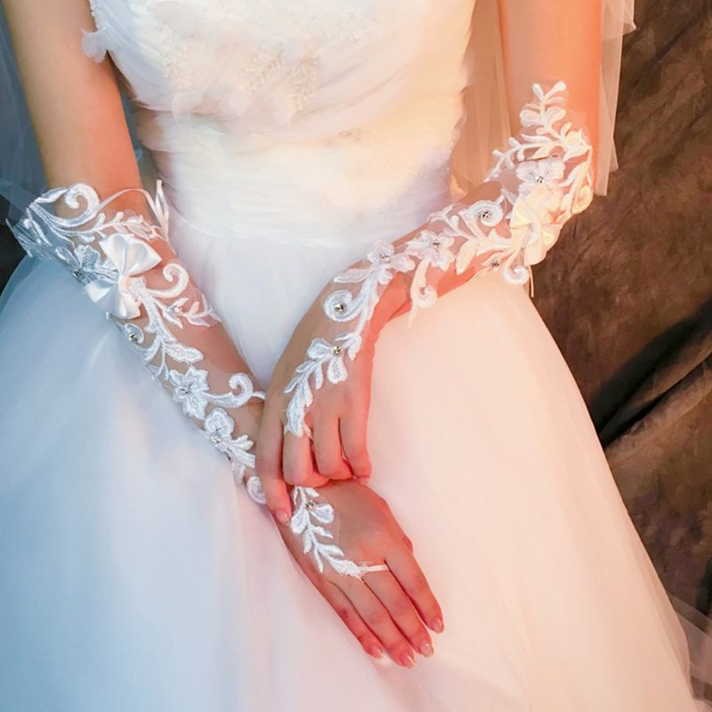Wedding Bride Embroidery Floral Lace Fingerless Gloves Rhinestone Bowknot Mitten LX9E