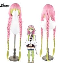 Ebingoo Slayer Kanroji Mitsuri Cosplay peruk Kimetsu hiçbir Yaiba kostüm uzun pembe karışık yeşil sentetik örgü parti saç