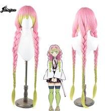 Ebingoo slayer kanroji mitsuri peruca cosplay kimetsu não yaiba traje longo rosa misto verde sintético trança festa de cabelo