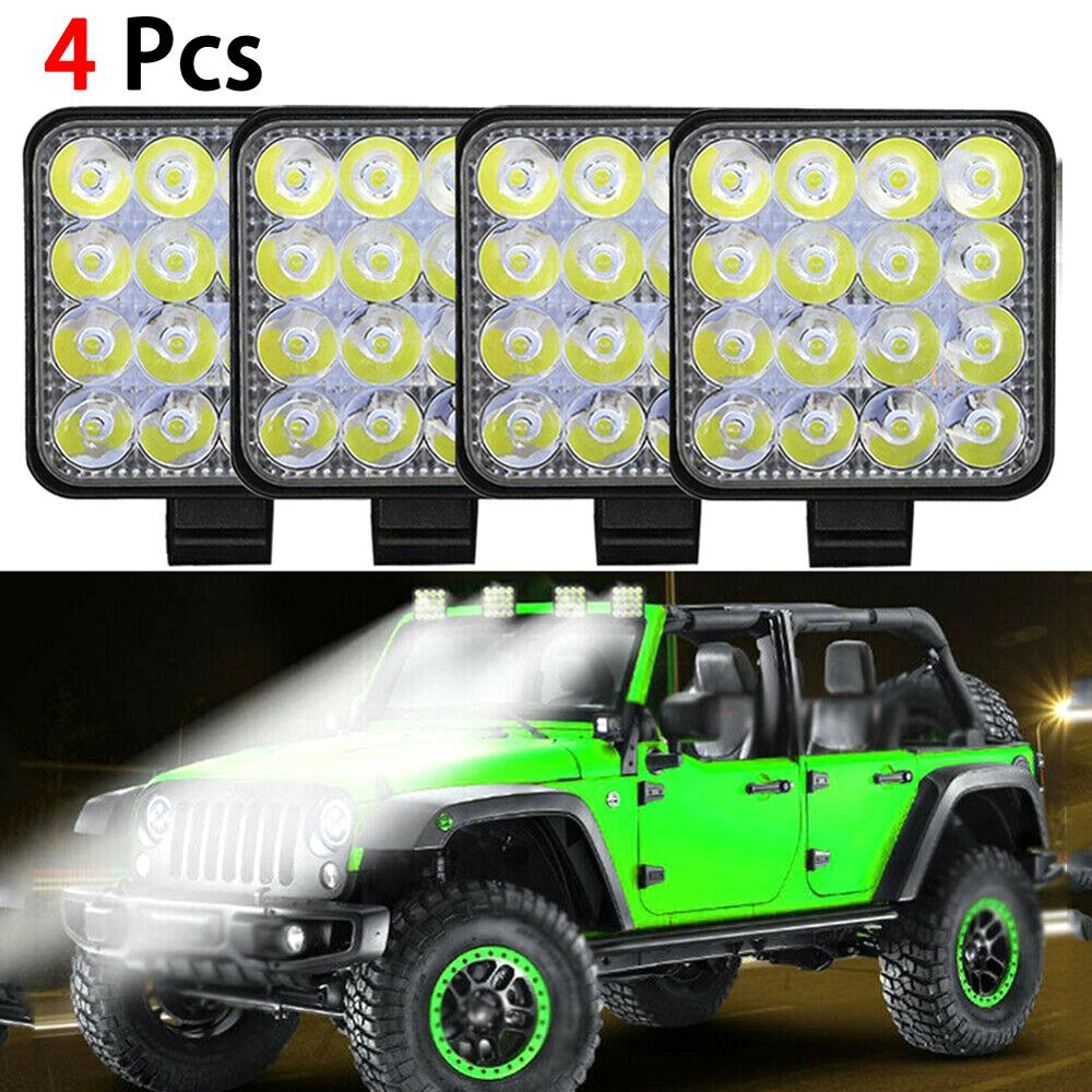 4PCS 48W LED Work Light 9-32V Car Light Bright Off-Road Beam Flood 9000LM IP68 Waterproof light SUV Fog Lamp Flood Beam Bar