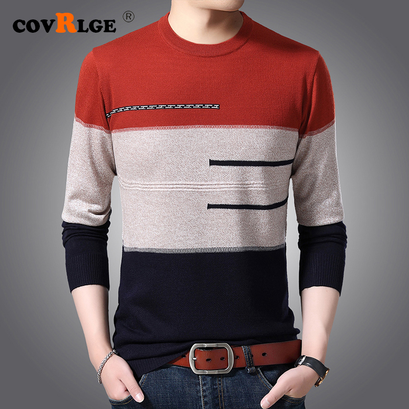 Covrlge Men Sweater 2019 Fashion Solid Soft Wool Knit Sweaters Plus Pullover Men's V-neck Pullovers Brand Clothing Men MZL053