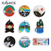 Pin de esmalte acrílico para exteriores, broche personalizado de noche estrellada de montaña, para acampar, senderismo, bolsa, ropa, solapa, regalo de insignia de aventura