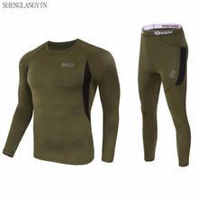 Зимнее высококачественное новое термобелье, мужское нижнее белье, комплекты компрессионного флиса, быстросохнущее термо-нижнее белье, мужская одежда