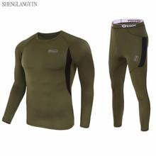 winter Top quality new thermal underwear men underwear sets compression fleece sweat quick drying thermo underwear men clothing cheap SHENGLANGYIN ESDY Long Johns Acetate COTTON