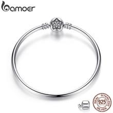 BAMOER Authentic 100% 925 Sterling Silver Snake Chain Bracelet & Bangle Pave Star Cubic Zirconia CZ DIY Jewelry