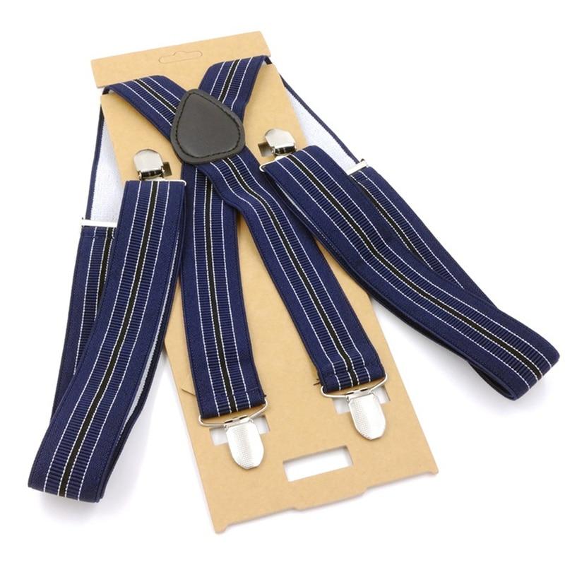 Helisopus 1 Piece Men Suspenders Brace 4 Clips PU Leather 3.5x115cm Suspenders Casual Trousers Straps Strong Clasps