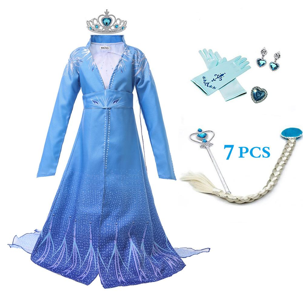 2019 New <font><b>Anna</b></font> Elsa <font><b>2</b></font> Girl Dress Christmas Set Cosplay Aisha Birthday Party <font><b>Frozen</b></font> <font><b>2</b></font> Blue Evening Dress Crown <font><b>Wig</b></font> Set image