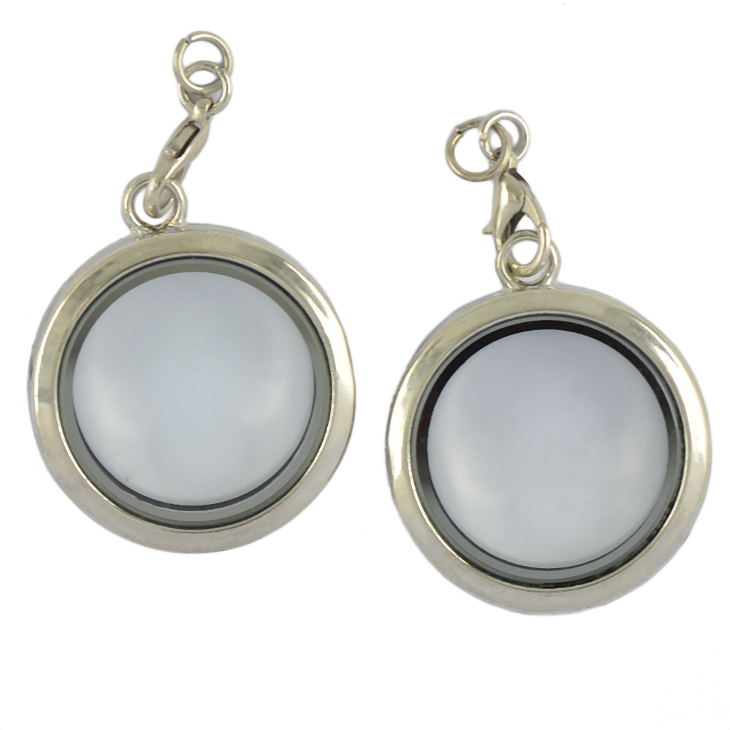 2pcs Round Memory Locket Keyring For Floating Charms Living Pendant Chain