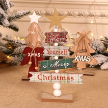 Christmas Wooden Desktop Christmas Tree Ornament Decorative Sign Holiday Party D