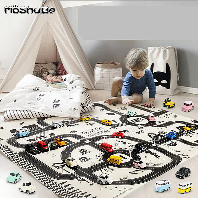 Nordic City Map Play Mat 130*100cm City Car Parking Lot Road Map Toy Climbing Mats Gifts For Kids Portable Game Pad