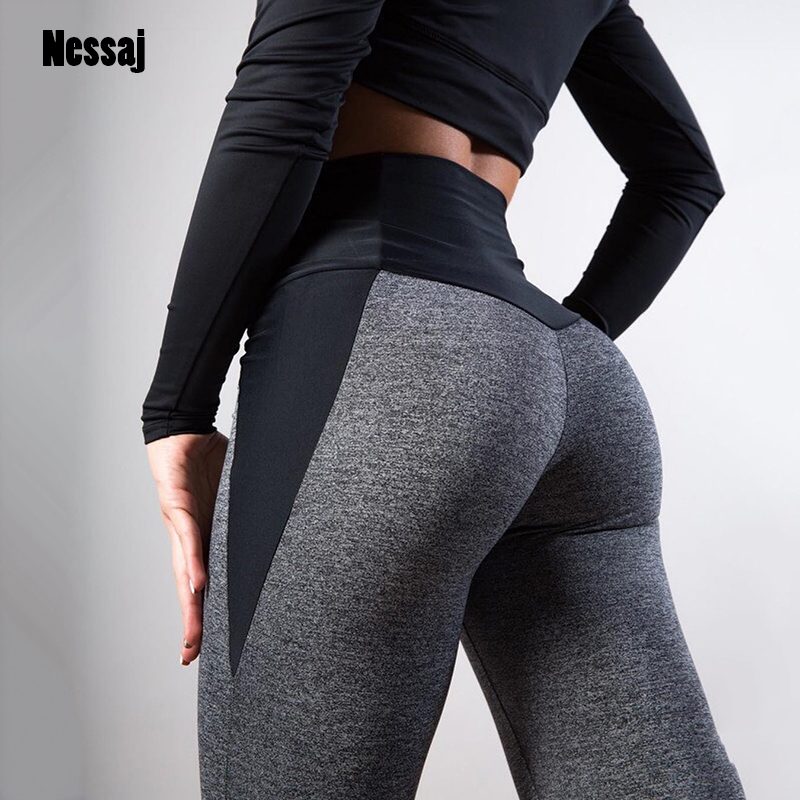 Nessaj Women Fashion Sexy Hips Lifting Pants Black Gray Patchwork Fitness Leggings Female Workout Trousers Spring Slim Leggings