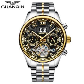 GUANQIN автоматические механические часы Роскошные Tourbillon Relogio Masculino водонепроницаемые спортивные мужские часы плавательные наручные часы