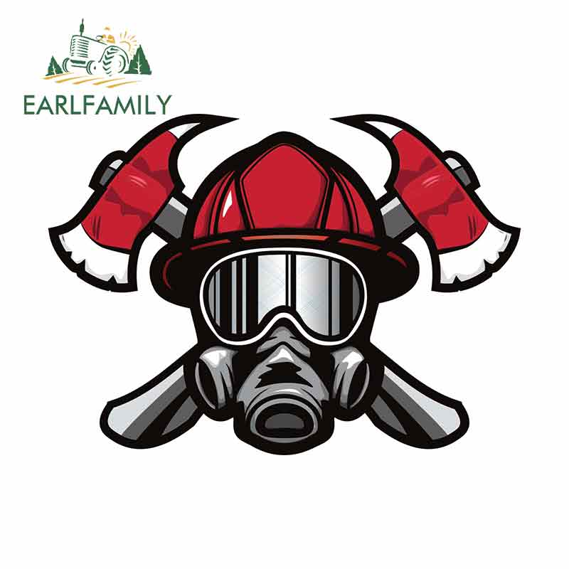 EARLFAMILY 13cm X 9.4cm For Rescue Fireman Department Suitable For VAN RV SUV Car Stickers Decals Waterproof Occlusion Scratch