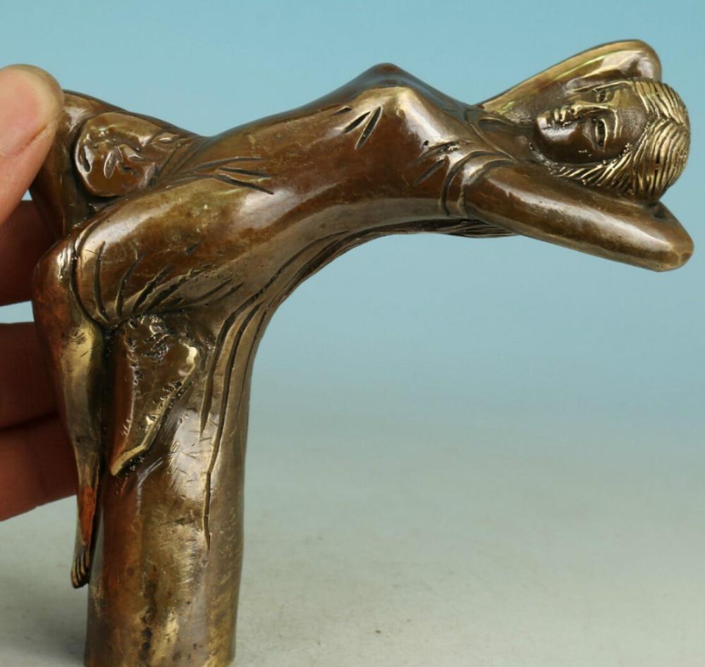 Collectible Handwork Carving Exquisite Bronze Parrot Statue Walking Stick Head