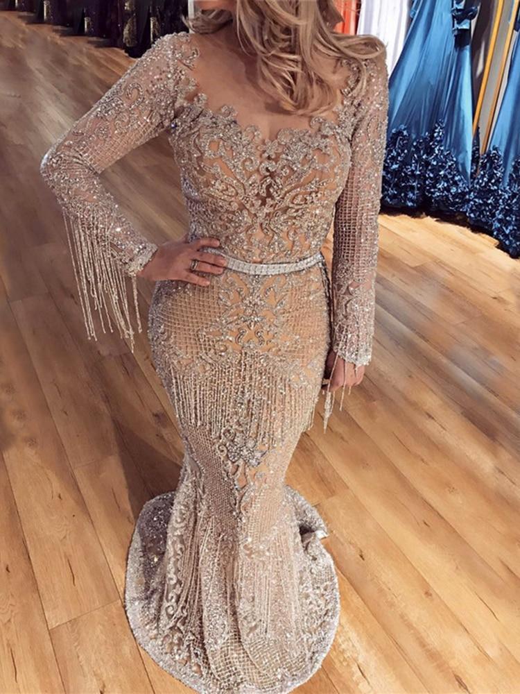 Evening-Dresses Beading Sequined Serene Hill Dubai Long-Sleeve Plus-Size Luxury Sparkle