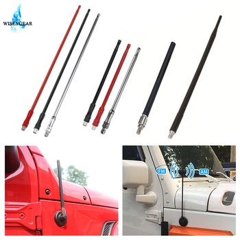For Jeep Wrangler JK 2007-2015 Car Antenna Aerial AM FM Radio Signal Amplifier Rubber Metal Vehicle Antenna Mast with 8mm Bolt image