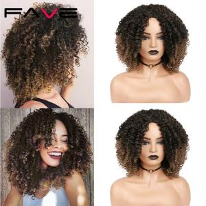 FAVE Afro Kinky Curly Short Synthetic Wig Mixed Dark Light Brown 14inch For America Africa Women Hair Cosplay Heat Resistant