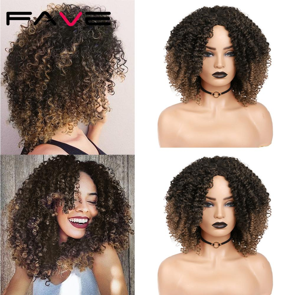 FAVE Afro Kinky Curly Short Synthetic Wigs Mixed Dark Light Brown 14inch For Black White America Africa Women Hairstyle Cosplay