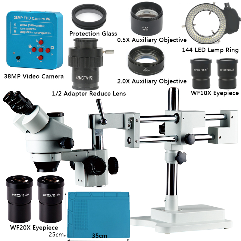 3.5X-90X Simul-Focal Double Boom Stand Trinocular Stereo Zoom Microscope 38MP 2K HDMI Camera 144 LED Light Microscopio