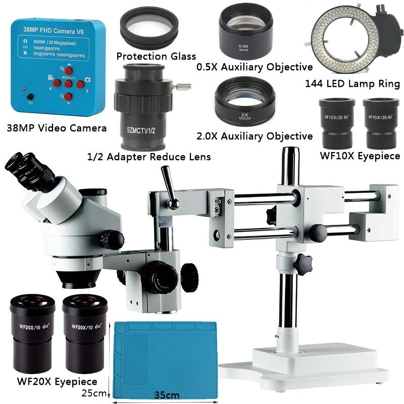 3,5x-90X simul-focal soporte de doble brazo Trinocular zoom estéreo Microscopio 38MP 2K HDMI Cámara 144 luz LED Microscopio