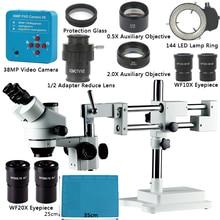 3.5x 90x 180x simul focal duplo crescimento suporte trinocular estéreo zoom microscópio 38mp 2k hdmi usb câmera 144 led luz microscopie