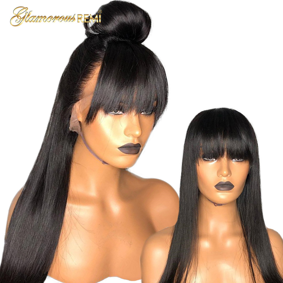 Human Hair Lace Front Wigs13x6 Brazilian Straight Hair Lace Frontal Wigs with Bangs Off Black Glueless Lace Front Wig 130% 150%