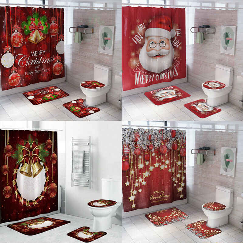 Boże narodzenie bałwan zasłona prysznicowa antypoślizgowy dywan łazienkowy toaleta pokrywa Pad wisiorek świąteczny zaopatrzenie firm