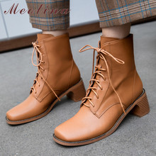 Купить с кэшбэком Meotina Real Leather Ankle Boots Women Genuine Leather Thick High Heel Short Boots Lace Up Square Toe Shoes Ladies Autumn 33-41