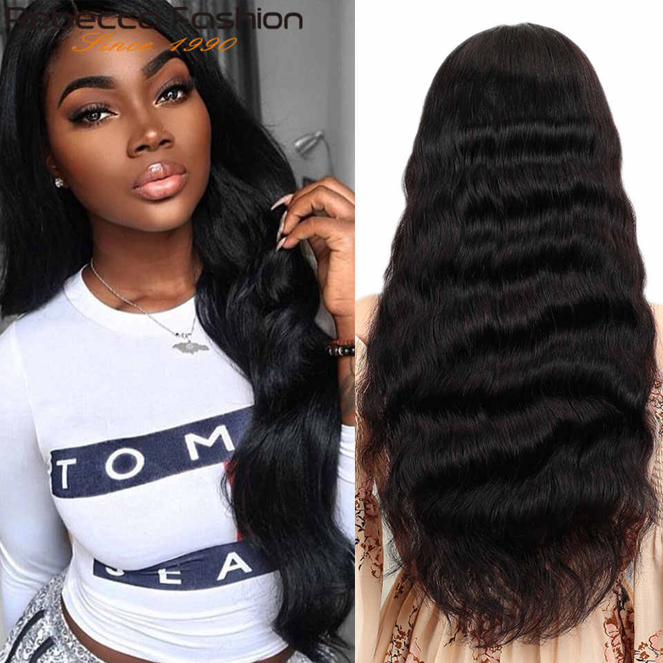 Rebecca Human Hair Wig Lace Frontal 13X4 Lace Customized 8 To 28 Inch Body Wave Human Hair By Remy Brazilian Human Hair