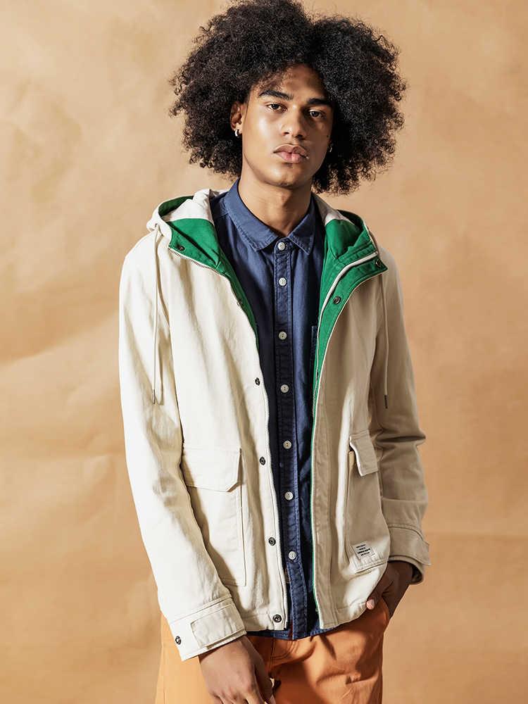 Simwood 2020 primavera nova moda jaqueta masculina shorts jaquetas casuais 100% casacos de algodão bolso roupas marca alta qualidade 190092