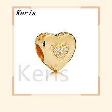 Стерлинговое Серебро 925 пробы 767375cz блестящее очаровательное сердце очаровательное роскошное Оригинальное женские украшения подарок