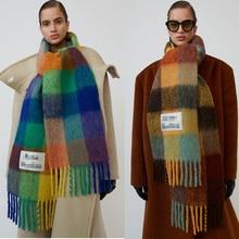 Кашемировая шаль для осени и зимы, зимний модный цветной клетчатый шарф согревает студенческие шеи и толстые шали