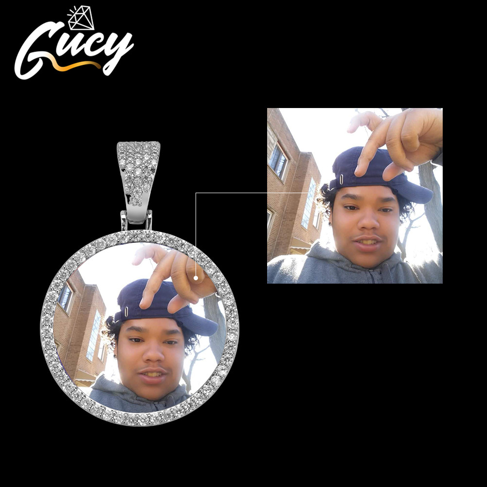 GUCY Fashion Custom Made Photo Roundness Solid Back Pendant & Necklace With Tennis Chain Cubic Zircon Men's Hip hop Jewelry|Customized Necklaces| - AliExpress