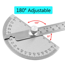 Mathematics-Measuring-Tool Protractor 180-Degree Angle-Ruler Round-Head Adjustable Stainless-Steel