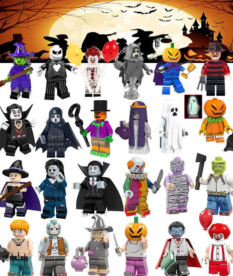 Cho Halloween Scream Sát Thủ Kinh Dị Chủ Đề Ma Nhân Vật Freddy Mặt Nạ Săn Đen Jack Thứ Sáu Jason Ma Cà Rồng Khối Xây Dựng Đồ Chơi
