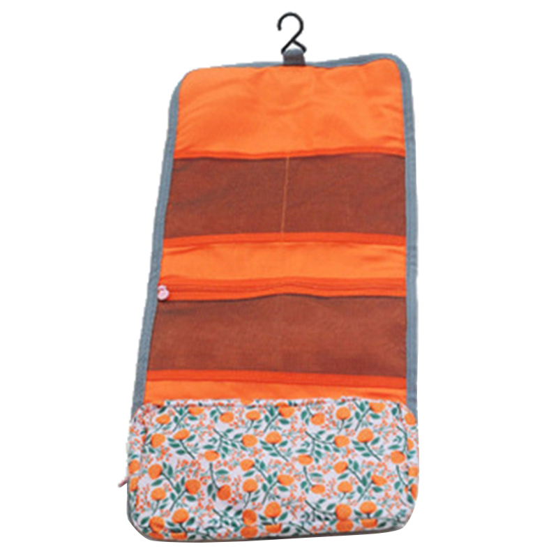 New Style Fashion Casual Practical Travel Hanging Cosmetic Bag Toiletry Organizer Ladies Women Make Up Pouch Orange