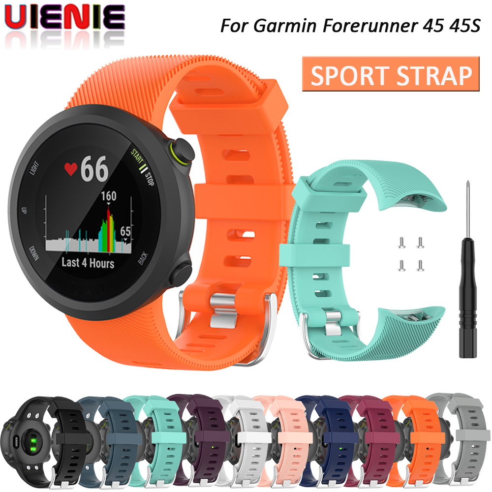 Replacement Watchband For Garmin Forerunner 45 / 45S Smart Watch Strap Silicone Watch Case For Garmin Forerunner 45 45S Bracelet