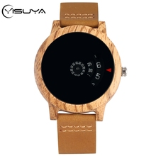 bobo bird mens green wood face wooden bamboo watches luxury wooden bamboo watches with leather quartz watch with bamboo box 2017 YISUYA Wood Watch Mens Watches Turntable Unique Fan-shaped Dial Wooden Watch Quartz Wristwatches Brown Leather Band Bamboo Clock