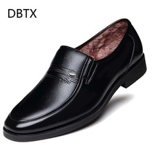 Winter Warm With Velvet Male Leather Shoes Men Dress