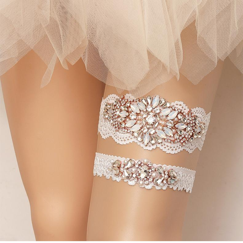 5 Size Bride Garter Crystal Opal Leg Ring Flower Sexy Garters Gold Thigh Ring For Women Bridal Accessories Wedding Jewelry M236