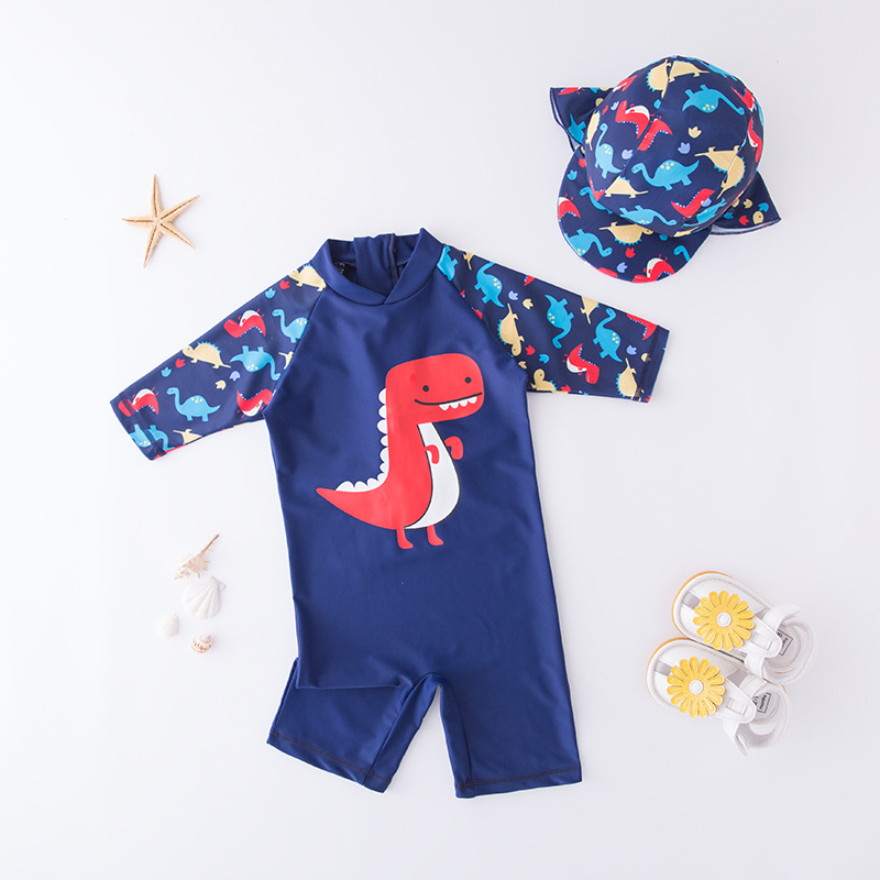Men's One-piece Swimming Suit Blue Dinosaur World-KID'S Swimwear Hot Springs Clothing