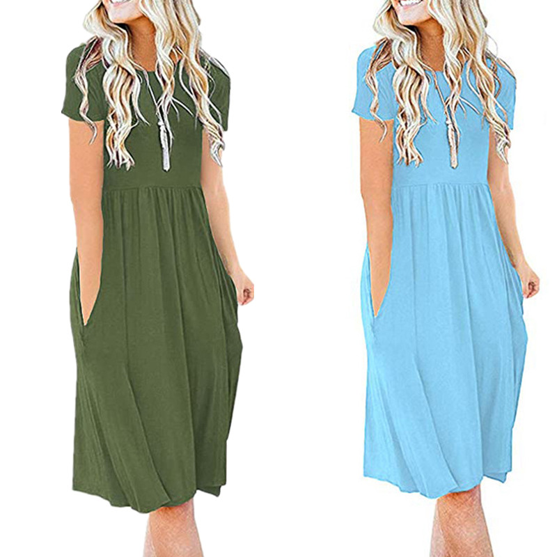 Summer Elegant Women Pocket Midi Dress 2020Casual Short Sleeve O-Neck Tee Dress Fashion Plus Size Big Hem Beach Party Blue Dress