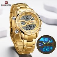 NAVIFORCE Luxus Gold Diamant Uhren für Männer Edelstahl Sport Wasserdicht Quarz Uhr Digitale Chronograph Armbanduhr Männlichen